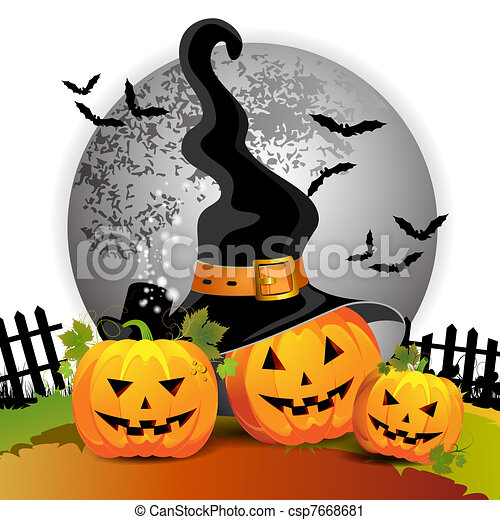 Halloween pumpkin with witches hat vector clip art - Search ...