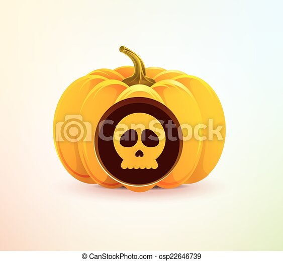 Halloween pumpkin with a carved skull - csp22646739