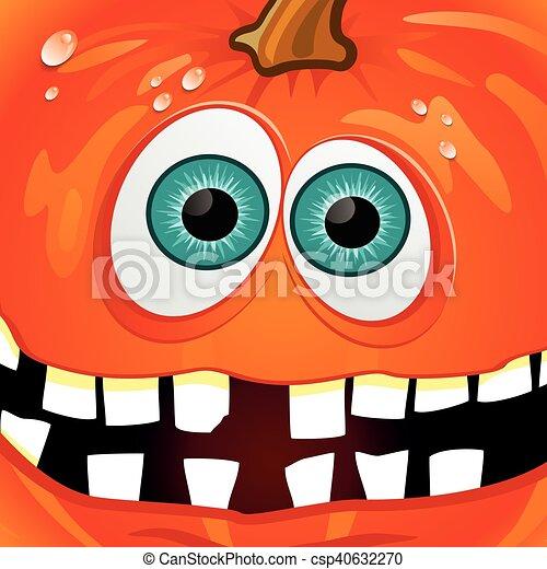 Halloween Pumpkin with Broken Teeth - csp40632270