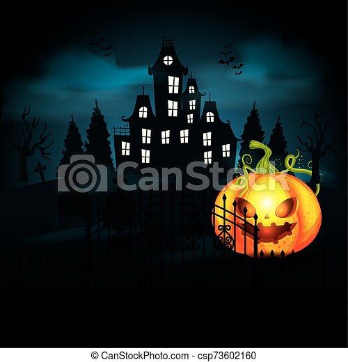halloween pumpkin with castle in dark night - csp73602160