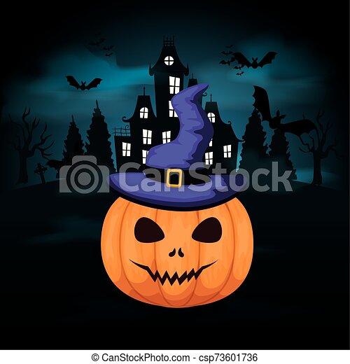 halloween pumpkin with castle in dark night - csp73601736