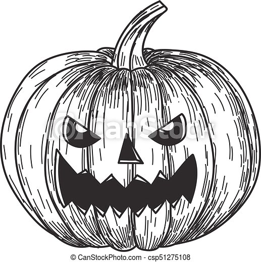 Halloween Pumpkin Drawing.Halloween Pumpkin With Evil Scary Smile In Funny Hand Drawing Doodle Sketch Style