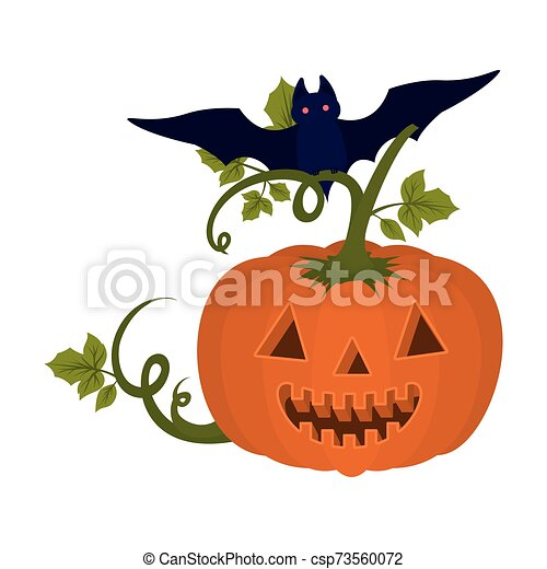 halloween pumpkin with face and bat flying - csp73560072