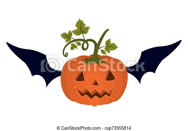halloween pumpkin with face and bat wings - csp73555814