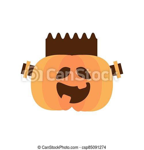 halloween pumpkin with frankenstein face flat style icon - csp85091274