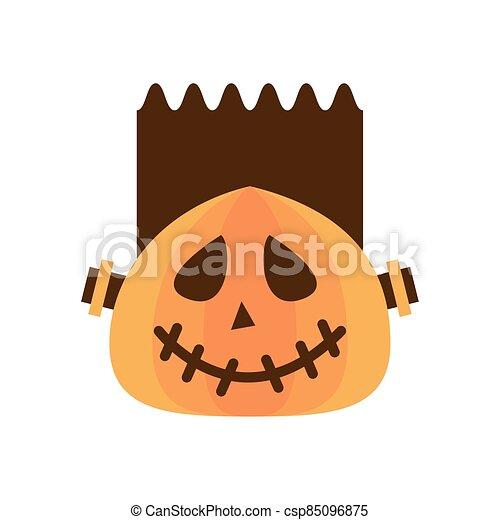halloween pumpkin with frankenstein face flat style icon - csp85096875