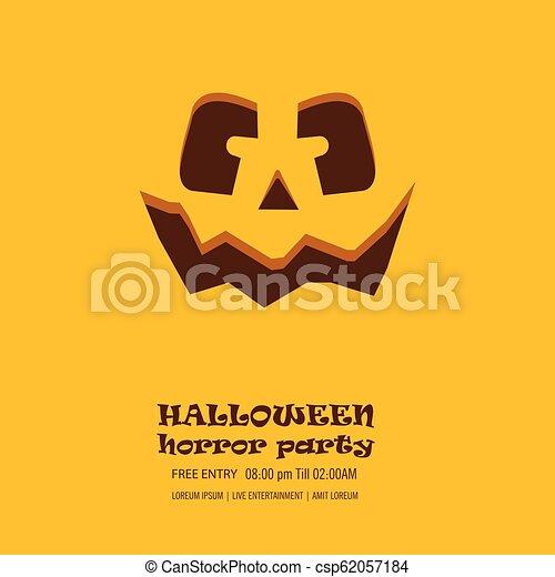 Halloween pumpkin with happy face background. Vector Illustration. - csp62057184