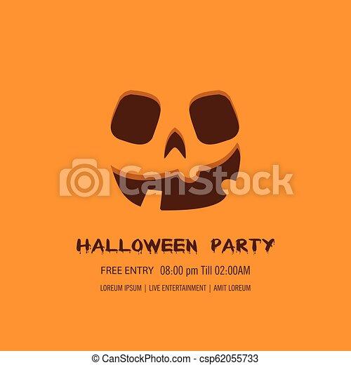 Halloween pumpkin with happy face background. Vector Illustration. - csp62055733