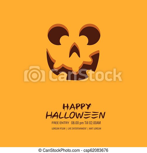 Halloween pumpkin with happy face background. Vector Illustration. - csp62083676