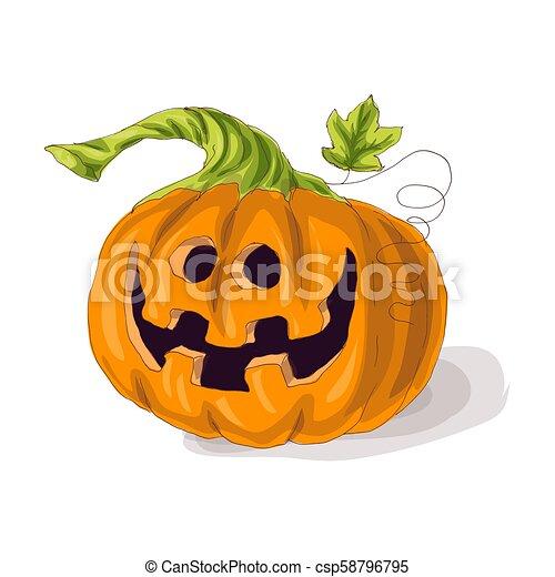 Halloween pumpkin with happy face on dark background. Vector Illustration. - csp58796795