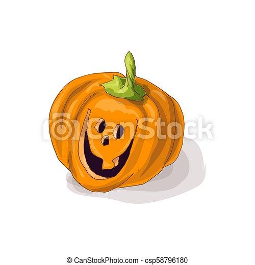Halloween pumpkin with happy face on dark background. Vector Illustration. - csp58796180