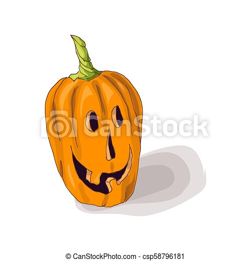 Halloween pumpkin with happy face on dark background. Vector Illustration. - csp58796181
