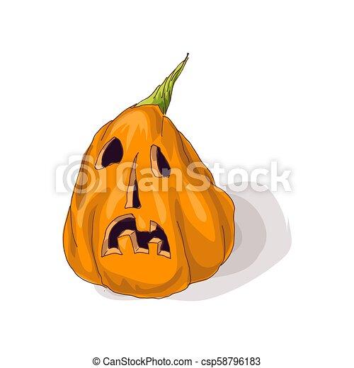 Halloween pumpkin with happy face on dark background. Vector Illustration. - csp58796183