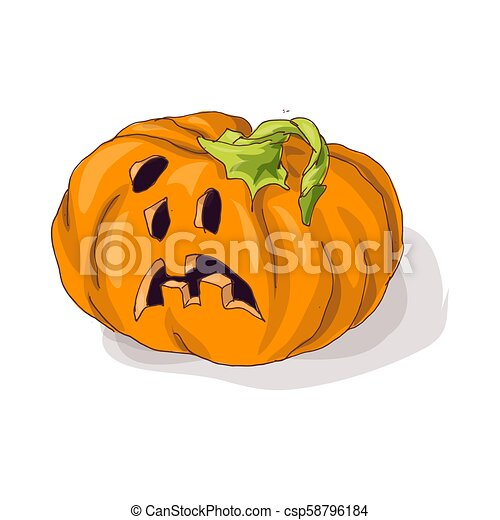 Halloween pumpkin with happy face on dark background. Vector Illustration. - csp58796184
