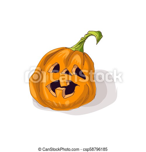 Halloween pumpkin with happy face on dark background. Vector Illustration. - csp58796185