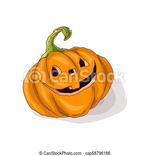 Halloween pumpkin with happy face on dark background. Vector Illustration. - csp58796186