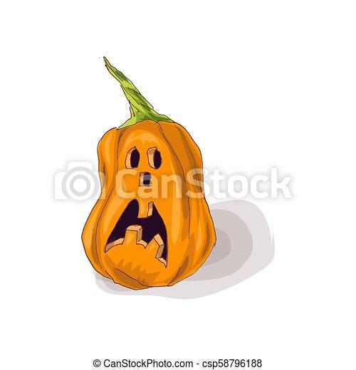 Halloween pumpkin with happy face on dark background. Vector Illustration. - csp58796188