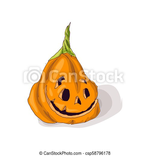 Halloween pumpkin with happy face on dark background. Vector Illustration. - csp58796178