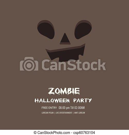 Halloween pumpkin with happy face background. Vector Illustration. - csp60763104