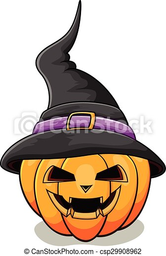 Vector Illustration Of Halloween Pumpkin With Scary Face