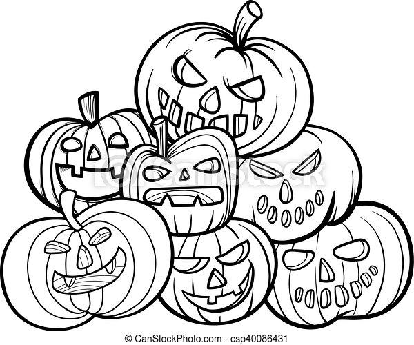 Halloween pumpkins coloring book. Black and white cartoon ...