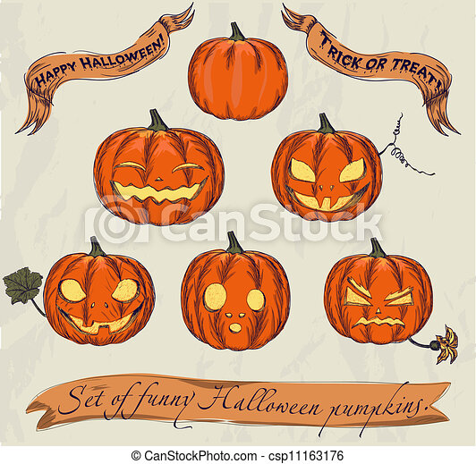 Halloween pumpkins set. - csp11163176
