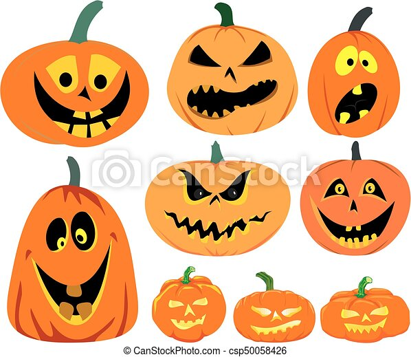 Halloween Pumpkins Vector Set Funny Or Scary Pumpkins Faces