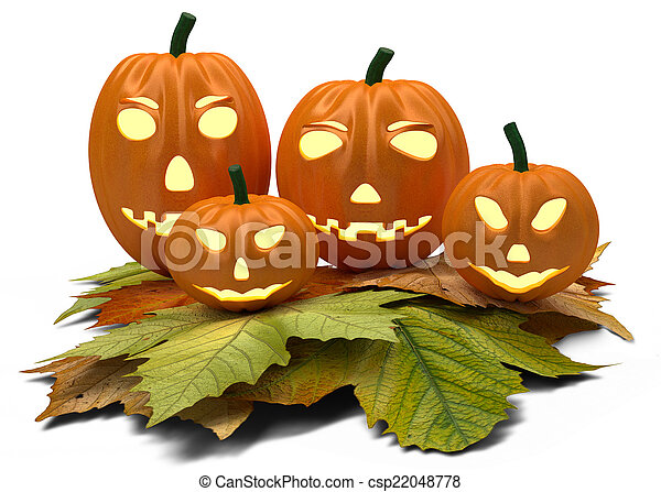 halloween pumpkins with fall leaves isolated on white - csp22048778