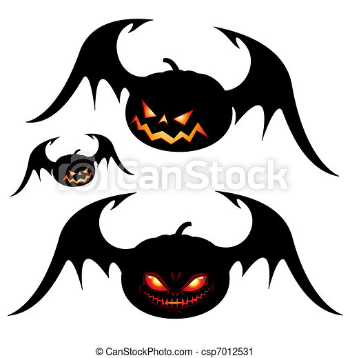 Smiling halloween pumpkins with wings - black isolated on white.