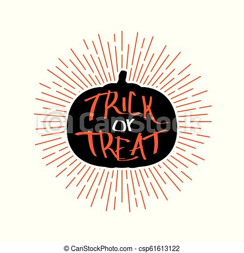 Halloween Trick Or Treat Silhouette.Halloween Retro Emblem With Quote Trick Or Treat