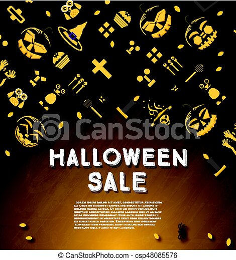 Halloween sale banner with pumpkin. - csp48085576