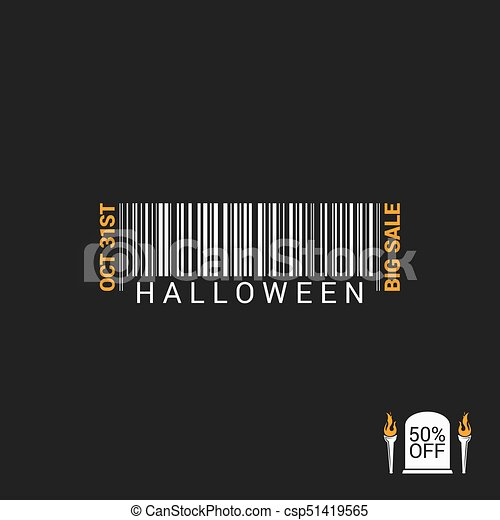 Halloween Sale Bar code Design Background - csp51419565