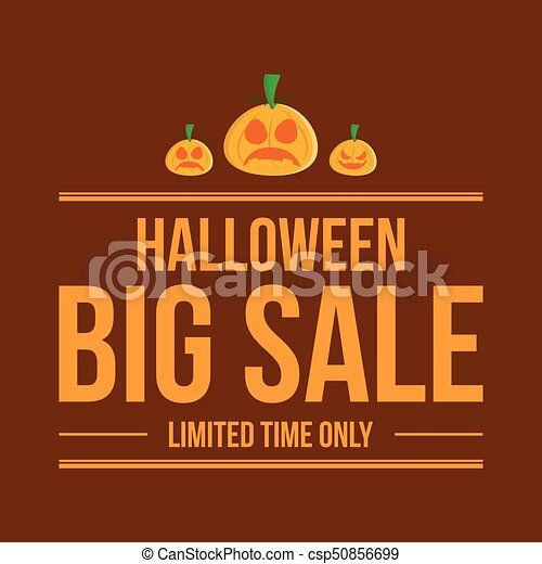 Halloween sale style with ghost pumpkin - csp50856699