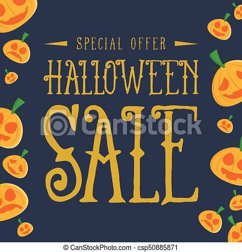 Halloween sale with pumpkin background - csp50885871