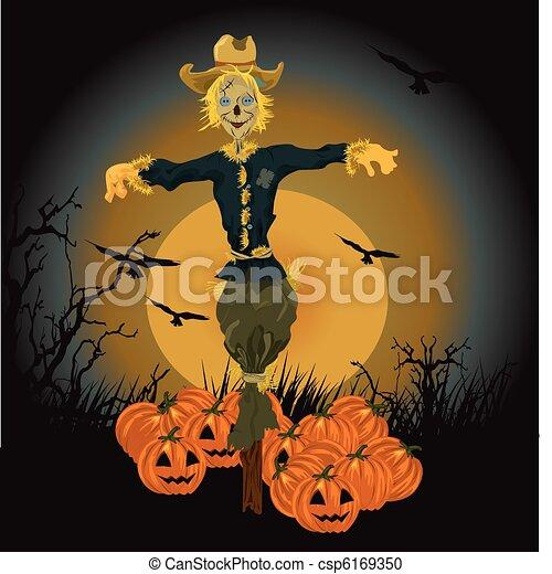 Halloween scarecrow vector illustration vector clipart - Search ...
