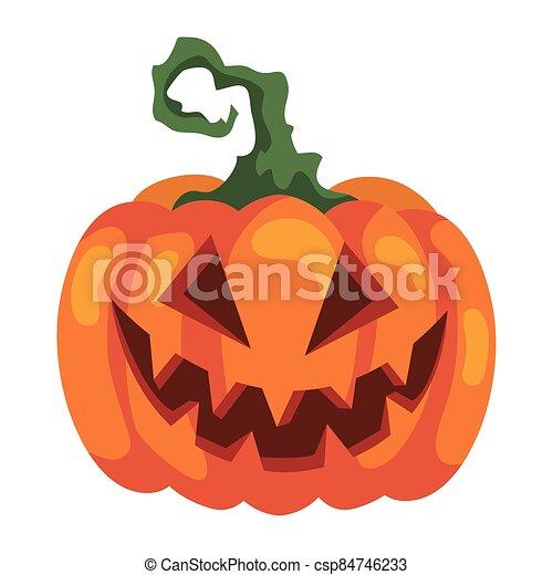 halloween scary pumpkin icon, on white background - csp84746233