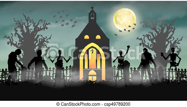 halloween scary zombie in graveyard with church csp49789200