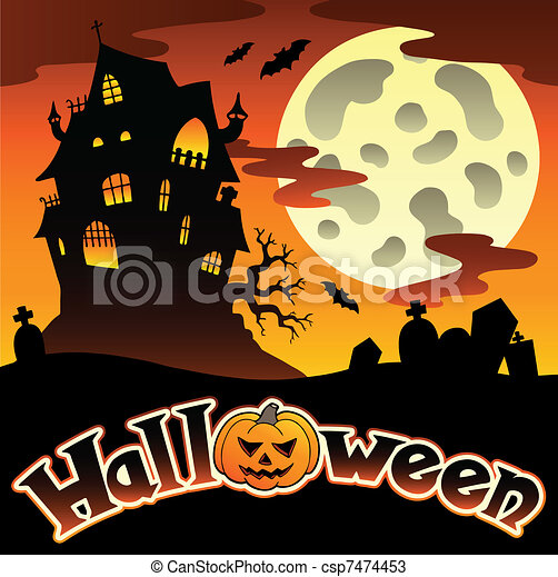 Halloween scenery with sign 1 - csp7474453