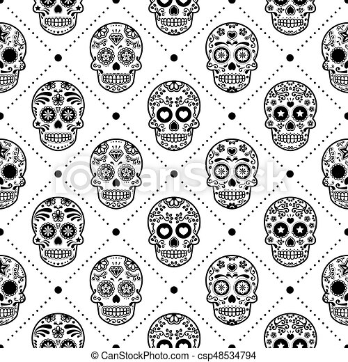 Halloween Seamless Pattern Mexican Sugar Skull Vector Design Dia