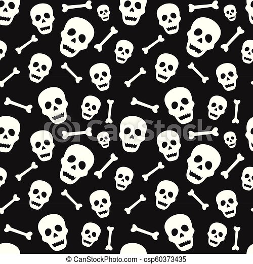 Halloween Seamless Pattern With Skull And Bone Design For Background Wallpaper Or Gift Wrapping Paper