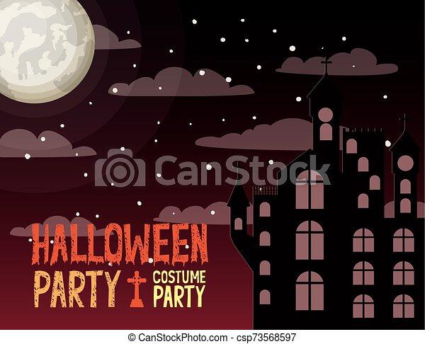 halloween season card with castle in dark night scene - csp73568597