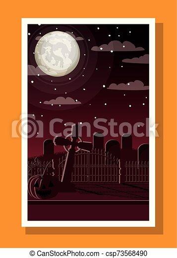 halloween season card with cemetery in dark night scene - csp73568490