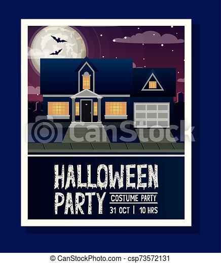 halloween season card with house in dark night scene - csp73572131