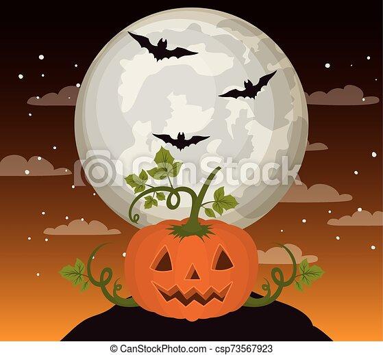 halloween season card with pumpkin in dark night scene - csp73567923