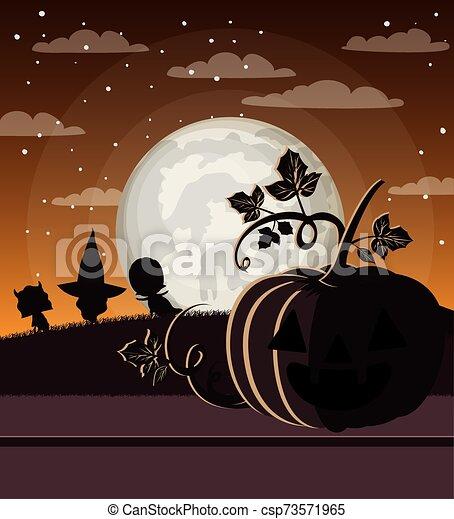 halloween season card with pumpkins in dark night scene - csp73571965