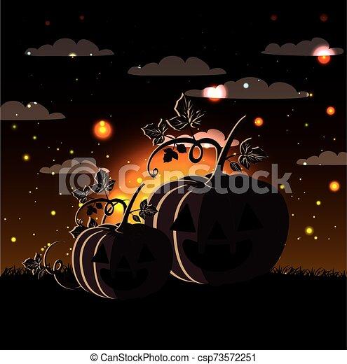 halloween season card with pumpkins in dark night scene - csp73572251