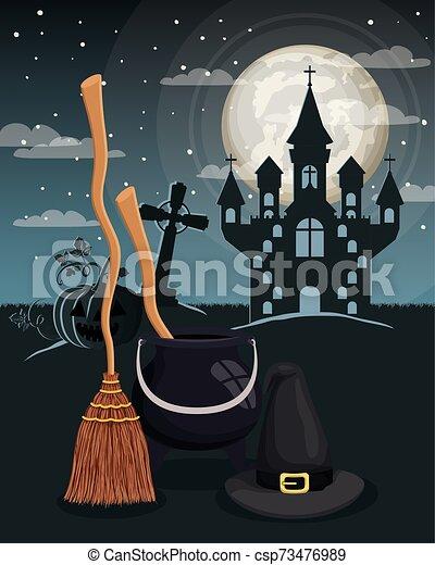 halloween season scene with castle night - csp73476989