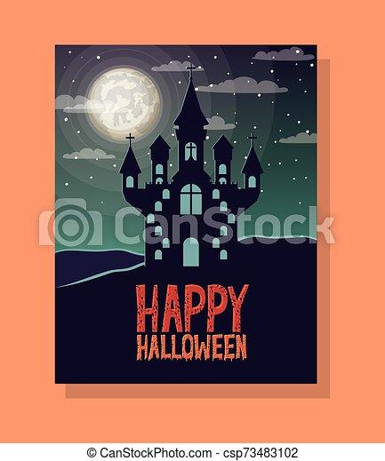 halloween season scene with castle night - csp73483102