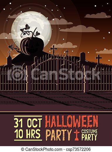 halloween season scene with graveyard - csp73572206
