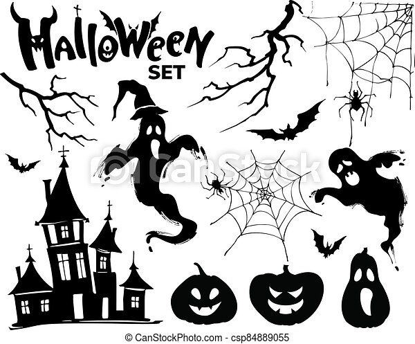 Halloween set black elements for your design. Vector illustration - csp84889055